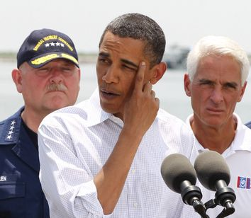 U.S. President Obama speaks after a briefing on the damage along the Louisiana coastline caused after a BP oil line ruptured in the Gulf of Mexico