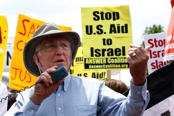 Demonstrators protest against Israel at the White House in Washington