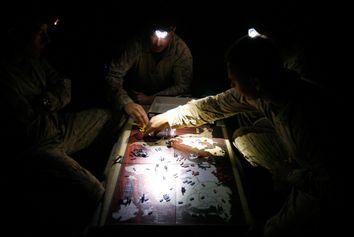 U.S. Marines from Kilo company, 3rd Battalion 6th Marines play the