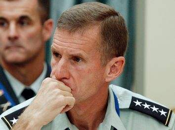 US General McChrystal, the new commander for the international troops in Afghanistan, attends a meeting in Sintra