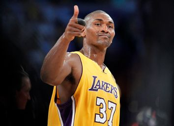 Los Angeles Lakers Ron Artest gives the thumbs up after the Lakers defeated the Boston Celtics in Game 1 of the 2010 NBA Finals basketball series in Los Angeles.