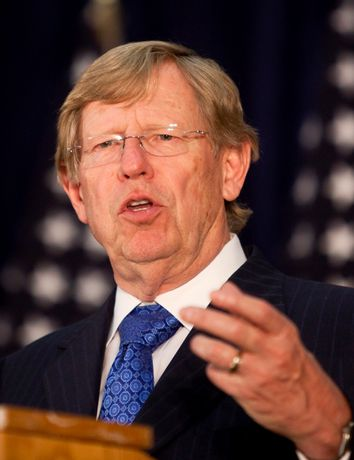 Attorney Ted Olson gives a news conference after giving his closing arguments in a case challenging California's ban on same sex marriages in San Francisco