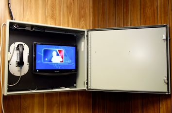 A picture of the instant replay box before the game between the Phillies and Cubs in Chicago