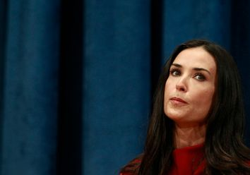Actress Demi Moore speaks during a news conference at the United Nations Headquarters in New York