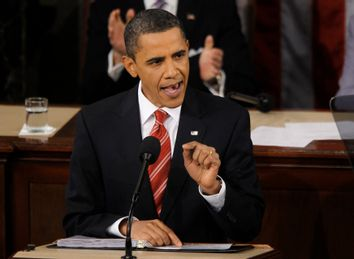 U.S. President Barack Obama speaks during his first State of the Union address on Capitol Hill in Washington