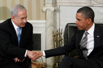 U.S. President Obama meets with Israel's Prime Minister Netanyahu in the Oval Office at the White House in Washington