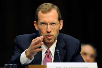 Congressional Budget Office Director Elmendorf gestures as he testifies before the first Joint Deficit Reduction Committee hearing on Capitol Hill in Washington