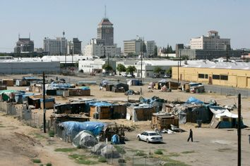 One of three homeless encampments, known as tent city is seen in Fresno, Calif. Fresno, June 18, 2009