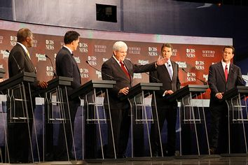 Republican presidential candidates Herman Cain, Mitt Romney, Newt Gingrich, Rick Perry, and Rick Santorum