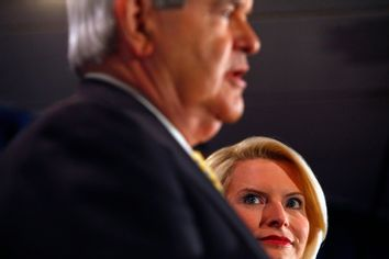 Republican presidential candidate and former House Speaker Newt Gingrich and his wife Callista