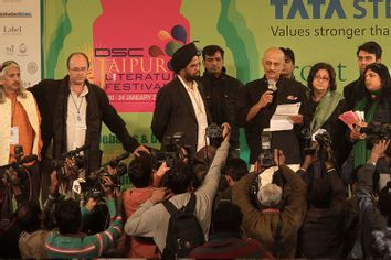 Officials announce the news of calling off Indian born British author Salman Rushdie's video conference at the Jaipur Literature Festival, in Jaipur, in the western Indian state of Rajasthan, Tuesday, Jan. 24, 2012.