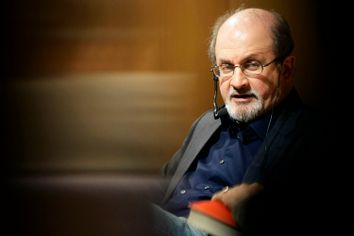 Writer Salman Rushdie attends an event in the Joan Fuster state library in Barcelona