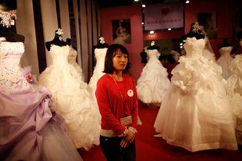 Wedding dresses at the China International Wedding Expo in Shanghai