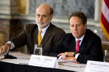 Timothy F. Geithner, U.S. treasury secretary, and Ben S. Bernanke, chairman of the U.S. Federal Reserve, attend a meeting of the Financial Stability Oversight Council in Washington