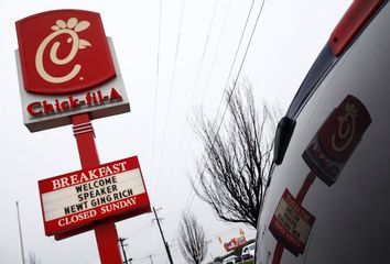 A sign is seen before Republican presidential candidate and former House Speaker Newt Gingrich visits a Chick-fil-A in Anderson