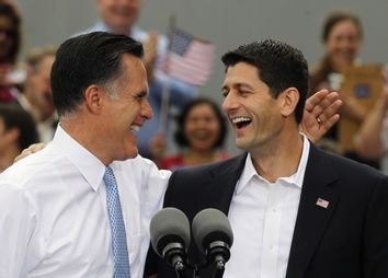Republican U.S. Presidential candidate Romney introduces U.S. Congressman Ryan as his vice-presidential running mate during a campaign event at the retired battleship USS Wisconsin in Norfolk