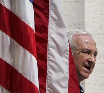 US Ambassador to Italy Sembler attends a ceremony for the 60th anniversary of the Allied victory in ...