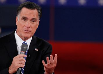 Republican presidential nominee Romney answers a question during the second presidential debate in Hempstead
