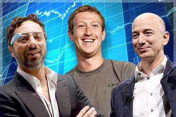 Sergey Brin, Mark Zuckerberg, Jeff Bezos