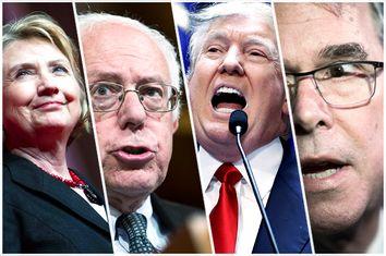 Hillary Clinton, Bernie Sanders, Donald Trump, Jeb Bush