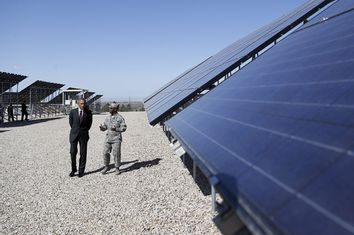 Obama takes a tour of a solar power array before delivering remarks on clean energy at Hill Air Force Base, Utah