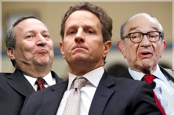Lawrence Summers, Timothy Geithner, Alan Greenspan