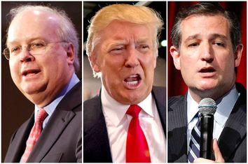 Karl Rove, Donald Trump, Ted Cruz