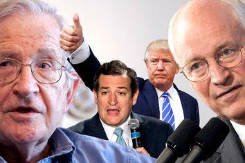 Noam Chomsky, Ted Cruz, Donald Trump, Dick Cheney