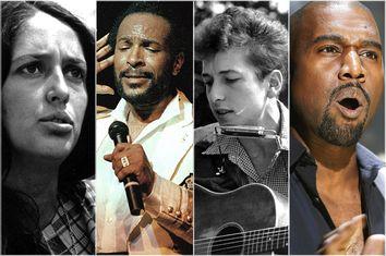 Joan Baez, Marvin Gaye, Bob Dylan, Kanye West