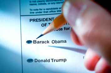 U.S. Presidential Election Voting Ballot with Selection of Candidates