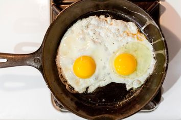 Two eggs fried in a skillet