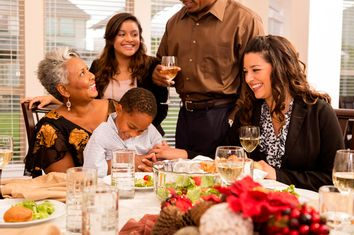Relationships: Family gathers for Christmas dinner or holiday party.