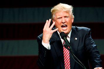 Republican presidential candidate Donald Trump speaks at a campaign rally in Greensboro, North Carolina