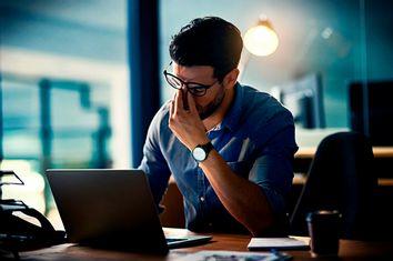 Stressed Man on Computer
