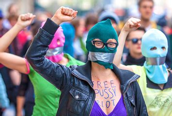Supporters of the Russian punk band 'Pussy Riot