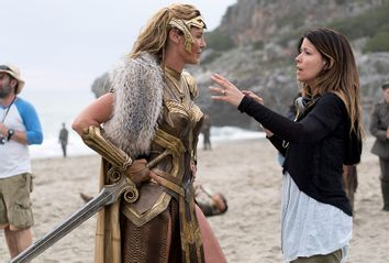 Connie Nielsen and director Patty Jenkins on the set of