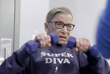 Ruth Bader Ginsburg mid workout in
