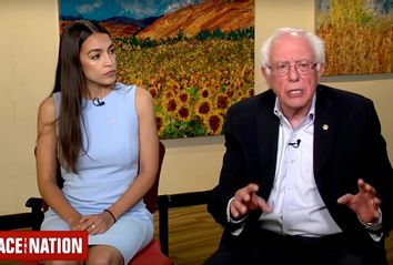 Alexandria Ocasio-Cortez and Bernie Sanders on