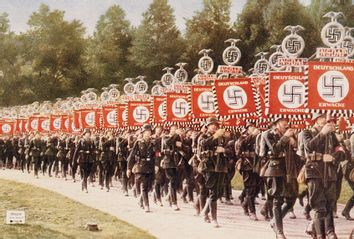 The National Socialist German Workers or Nazis attend a party rally at Nuremberg