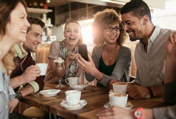 Friends in a coffee shop