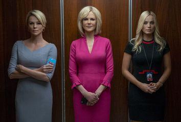 Charlize Theron as Megyn Kelly, Nicole Kidman as Gretchen Carlson, and Margot Robbie as Kayla Pospisil in