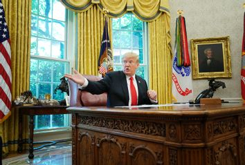 President Trump Receives Briefing On Hurricane Dorian At White House