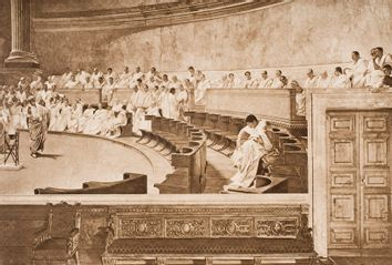 Cicero and Catiline in the Roman Senate, from the book The Outline of History by H.G.Wells Volume 1, published 1920.