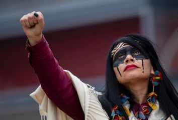 Indigenous Brazilian Leaders Protest Fossil Fuels During COP25 In Madrid