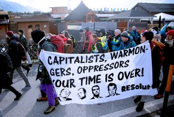 Protest in Davos, Switzerland
