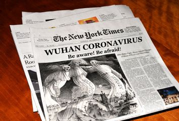 Concept: The New York Times' take on Coronavirus, featuring a 1882 illustrated depiction of diseases emanating from Chinatown.