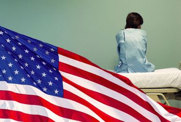 American Flag; Woman sitting on a hospital bed