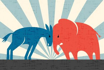 Democratic donkey and Republican elephant butting heads