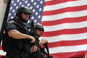Police Officers; American Flag