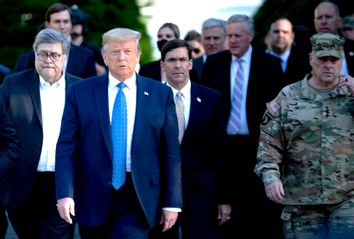 Donald Trump; William Barr; Mark Esper; Mark Milley